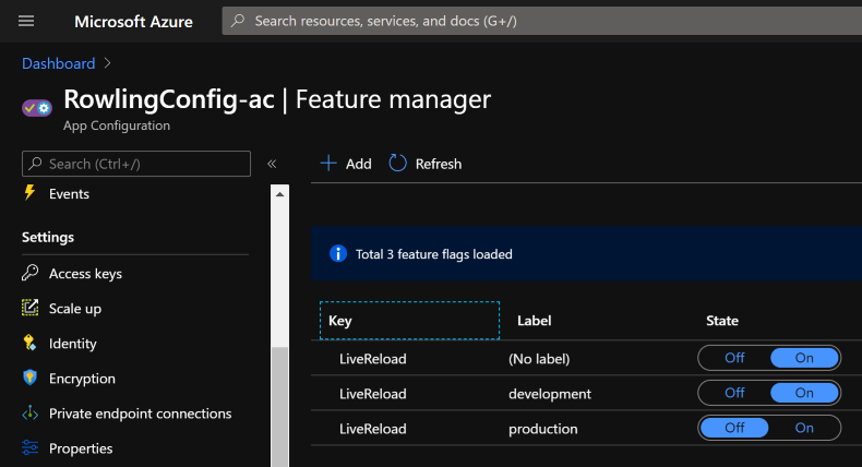 Azure App Configuration Feature Manager