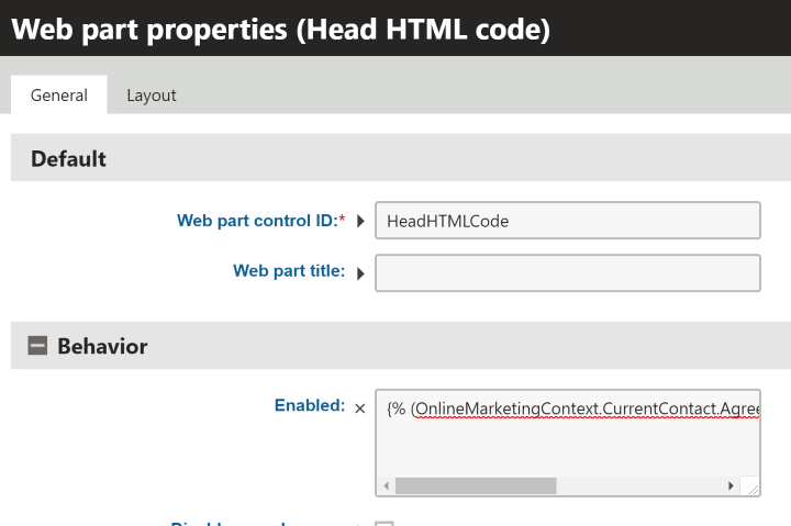 Kentico 11 Head Html Enabled Condition