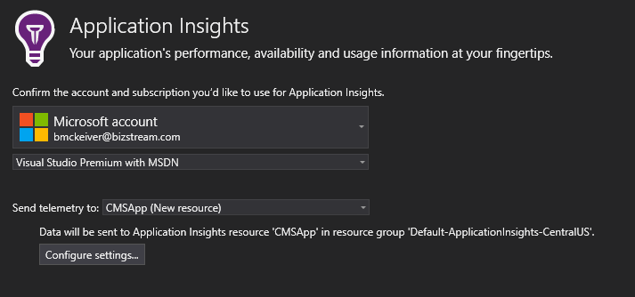 Kentico 9 Azure Application Insights Target