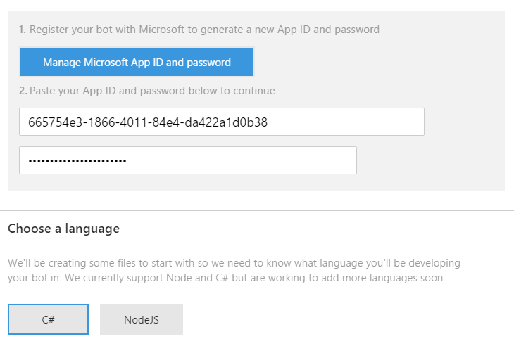 Azure Create New Bot App Password and Language