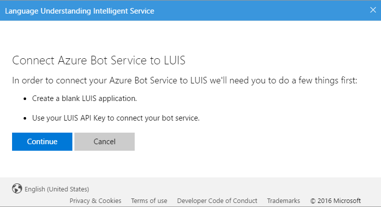 Connect Azure Bot Service to LUIS Create