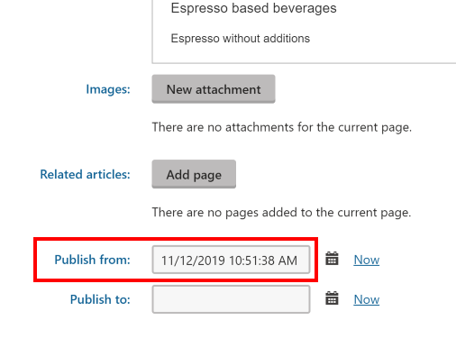 Kentico Publish From Date input